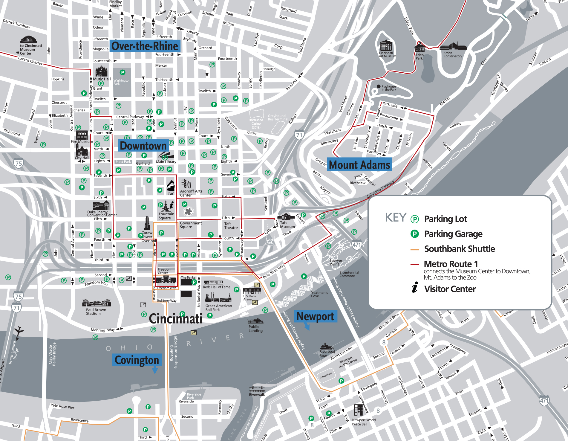 Map Of Downtown Cincinnati Downtown Cincinnati Map | Cincinnati Citywide